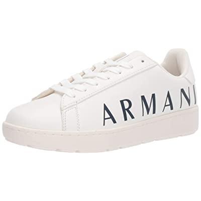 A|X Armani Exchange Men's Low Top Lace Up Sneaker, Optical White and Navy, 8M Medium US: Shoes