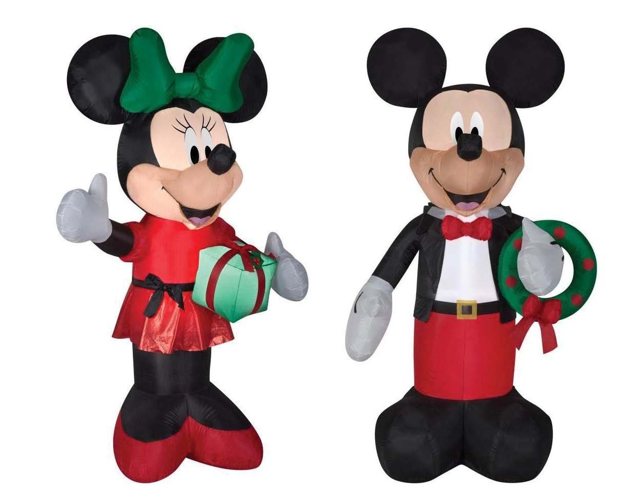 Inflatable Mickey And Minnie Christmas Yard Decorations, 6 Feet Tall, Self Inflatable With Energy Efficient LED by Gemmy