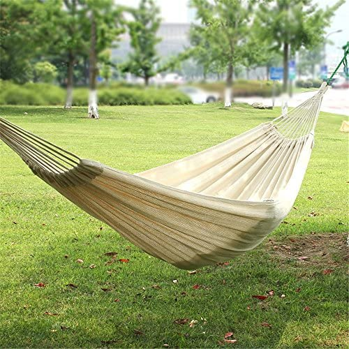 KNJF Portable Double Camping Hammock Outdoor Double Portable Hammock Lightweight Thick Cotton Swing Bed with White