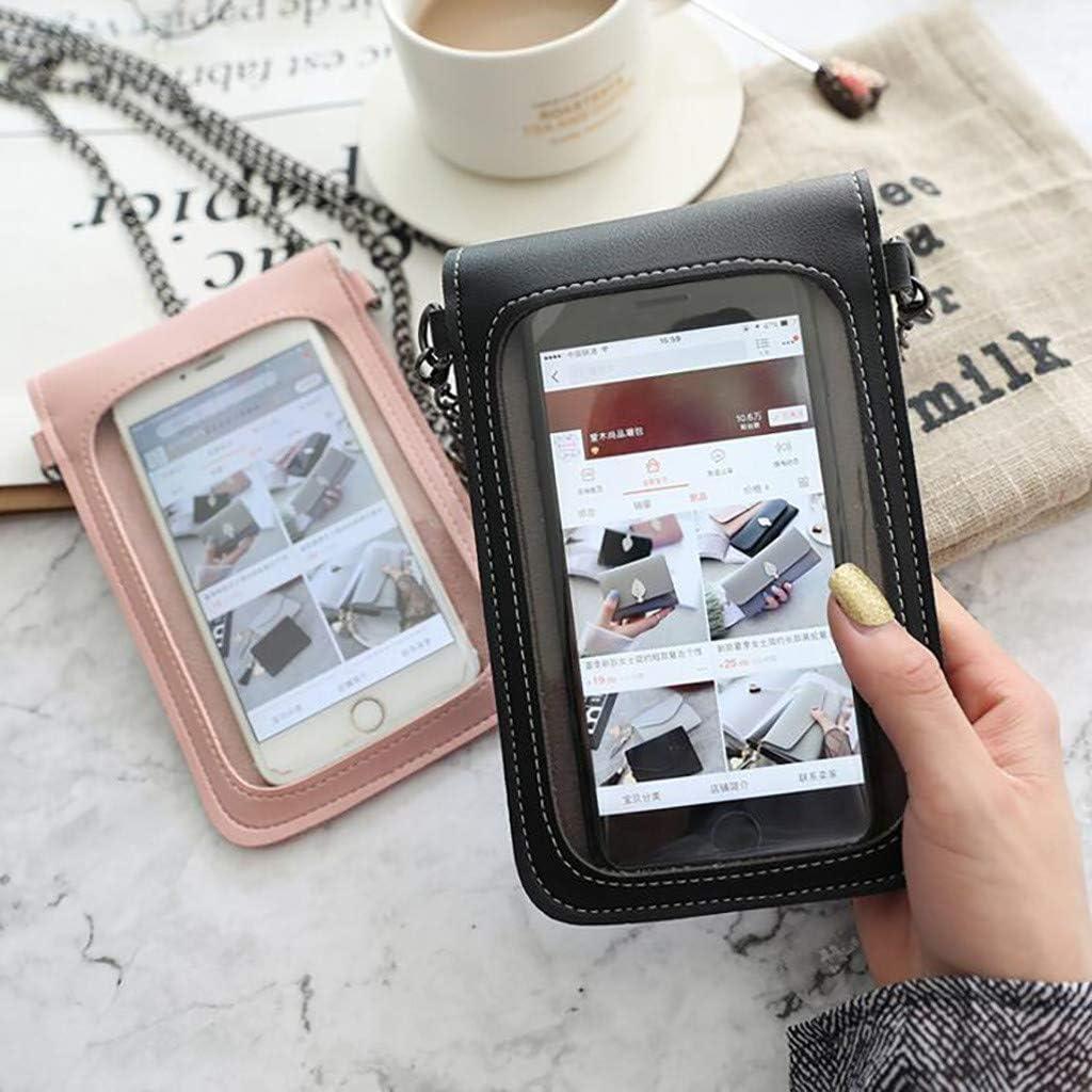 Amlaiworld Mini Sac /à bandouli/ère Multifonction Petit Mini Pochette pour t/él/éphone Portable avec Sac /à Dos en Cuir PU Transparent pour /écran Tactile
