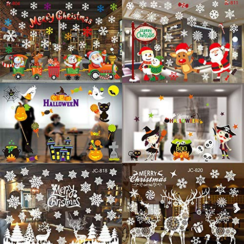 Hokcus Navidad DIY Christmas Window Decorative Films Halloween electrostatic Stickers Christmas Decorations for Home New Year 2019 - (Color: Christmas 07)]()
