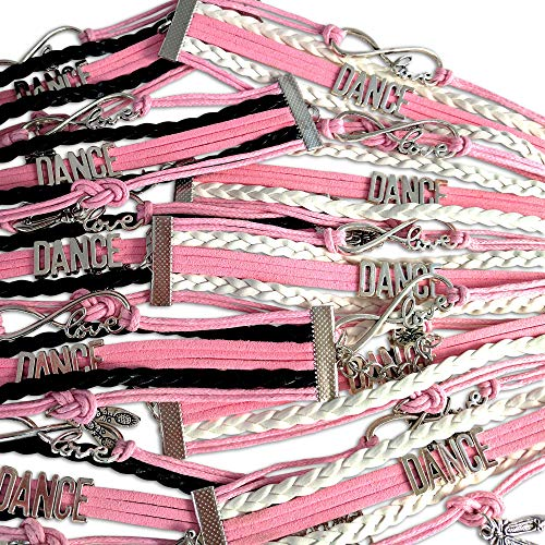 BAE Icons Dance Party Favors, Infinity Dance Charm Bracelet 10 Pack for Dance Theme Party, Gifts for Girls, Birthday Party Supplies for Party Favor Bags, Dance Party for Girls]()