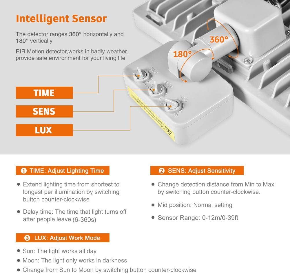 Terrazza Parcheggio 1000lm 6000K Bianco Freddo IP66 Impermeabile Faretto con Sensore Luce Distanza di Sensore 0-12m per Giardino 10W Faretto LED da Esterno con Sensore di Movimento Patio