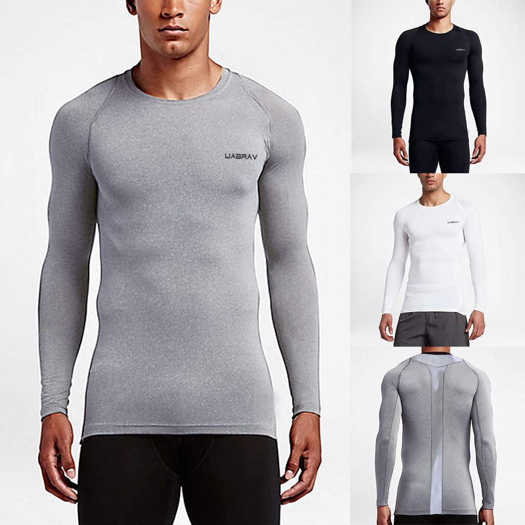 KASAAS Active T-Shirts for Men Training Solid Long Sleeve Crewneck Workout Tops Sports Slim Fit Fitness Activewear