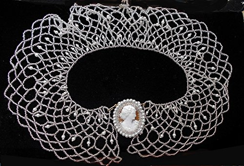 (Hand Carved Signed Shell Lady Cameo Embellished with Faux Pearls & Silver Lined Crystals on a Czech Crystal Pearl Collar Necklace. One of a Kind!)