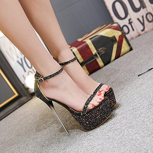 GTVERNH-Schwarzen Hochhackigen Schuhe Schuhe Schuhe Extrem Hohe Dünne Sohle Schuhe 15Cm Abdichtung Sandalen Tau Der Bankett - Schuhe Thirty-four 579509