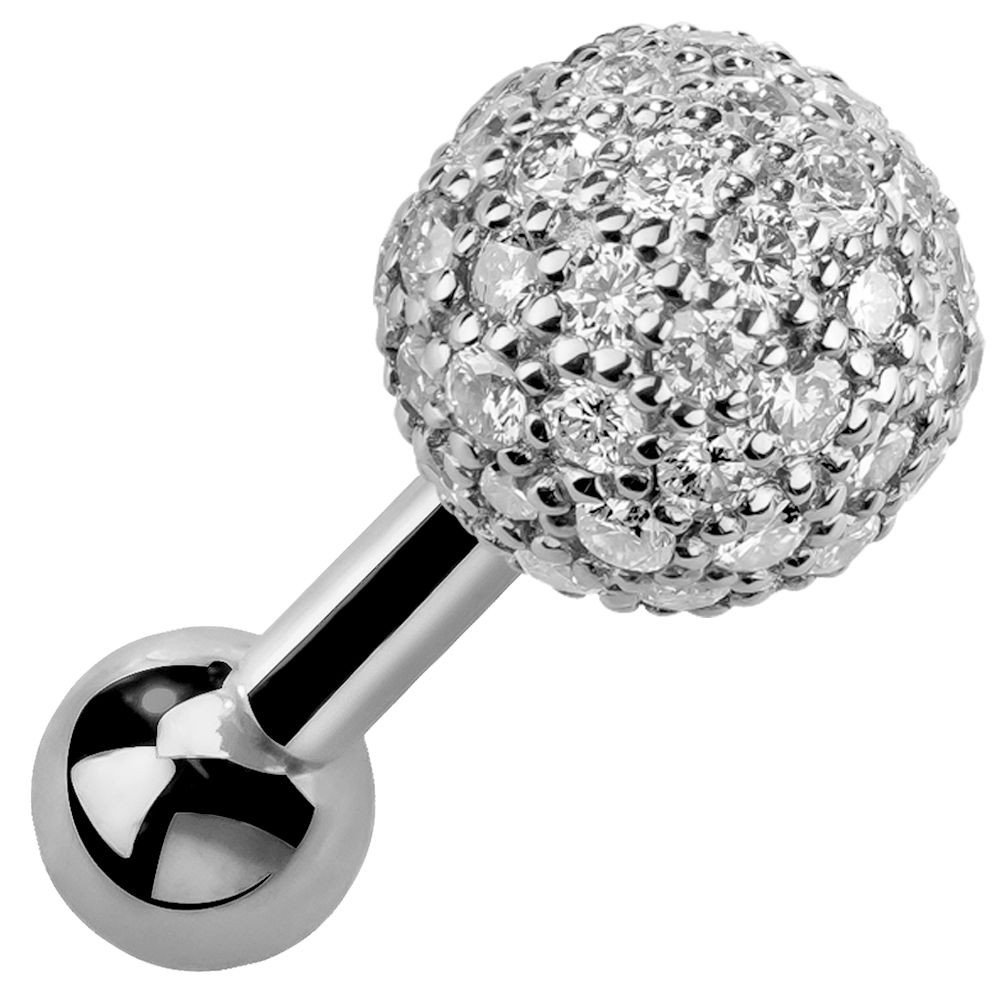 4mm Diamond Pave Ball 0.20CT. T.W. 14kt White Gold White Gold Cartilage Stud 18G 5/16''
