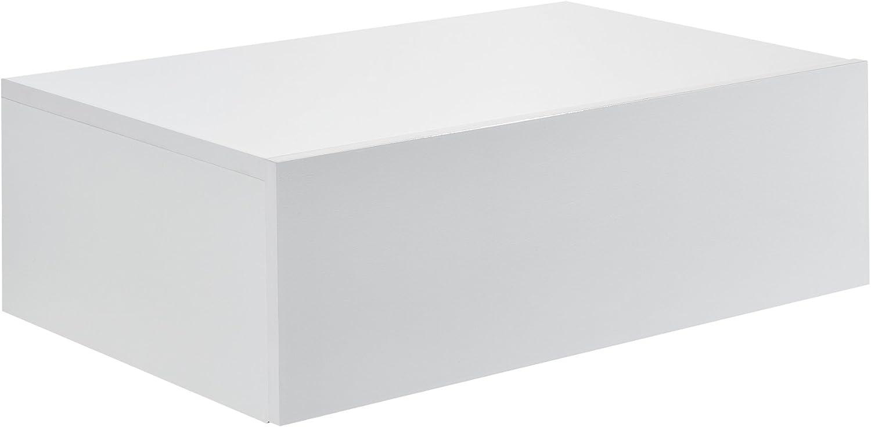 46x30x15cm Bianco laccato lucido en.casa Mensola da parete con cassetto