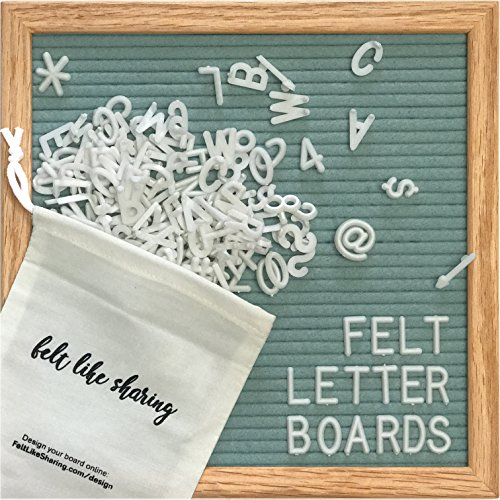 Light Seafoam Green Felt Letter Board 10x10 Inches. Changeable Letter Boards Include 300 White Plastic Letters & Oak Frame.