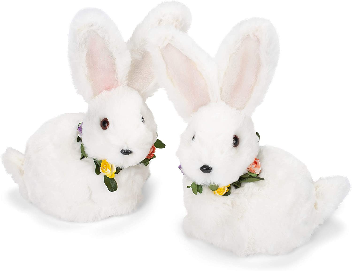 Amazon Com Raz Imports Fluffy White Easter Bunny Rabbit Indoor Decorations Set Of 2 8 1 2 Inch Home Kitchen