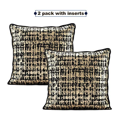 asoma Pack of 2, Velvet Decorative Square Throw Pillow Set with Inserts for Sofa Bedroom Car 18 x 18 Inch 45 x 45 cm (Black & Gold)