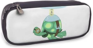ACHOGI Pony Rainbow Dash Turtle Pencil Case Big Capacity PU Leather Storage Bag Holder Compartment Box Pencil Pouch School Office Supplies Students