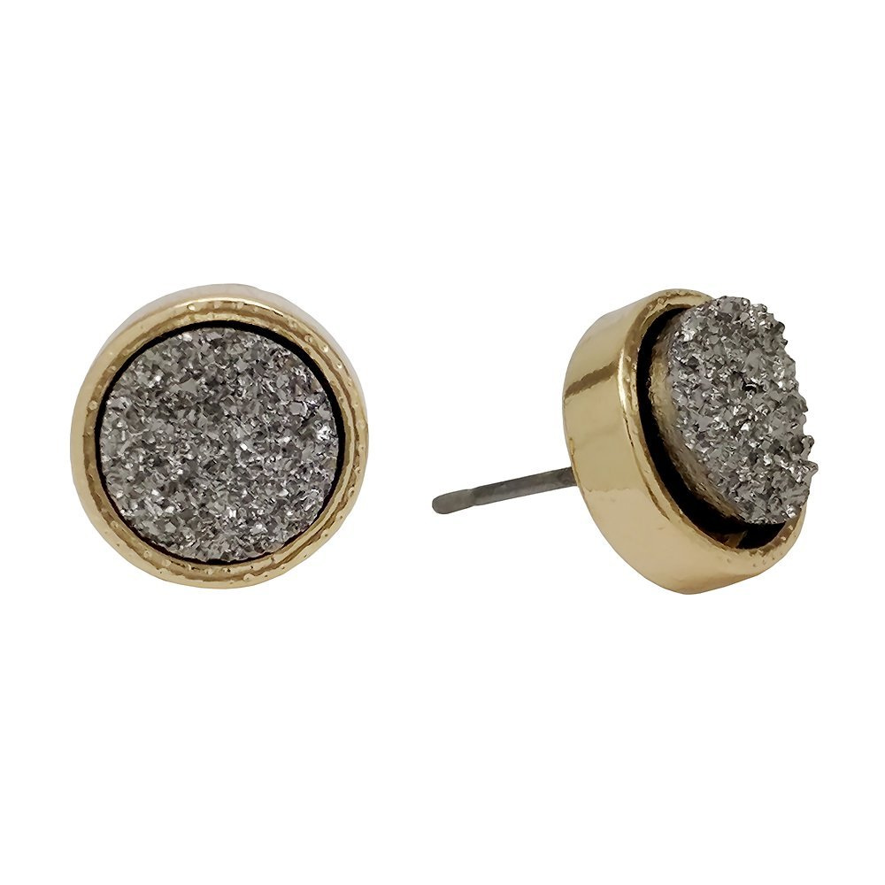 SULLEMM Simulated Druzy Studs Gold-Tone Plated Round Circle Simple Minimalist Small Crystal Post Ear Stud Earrings for Women