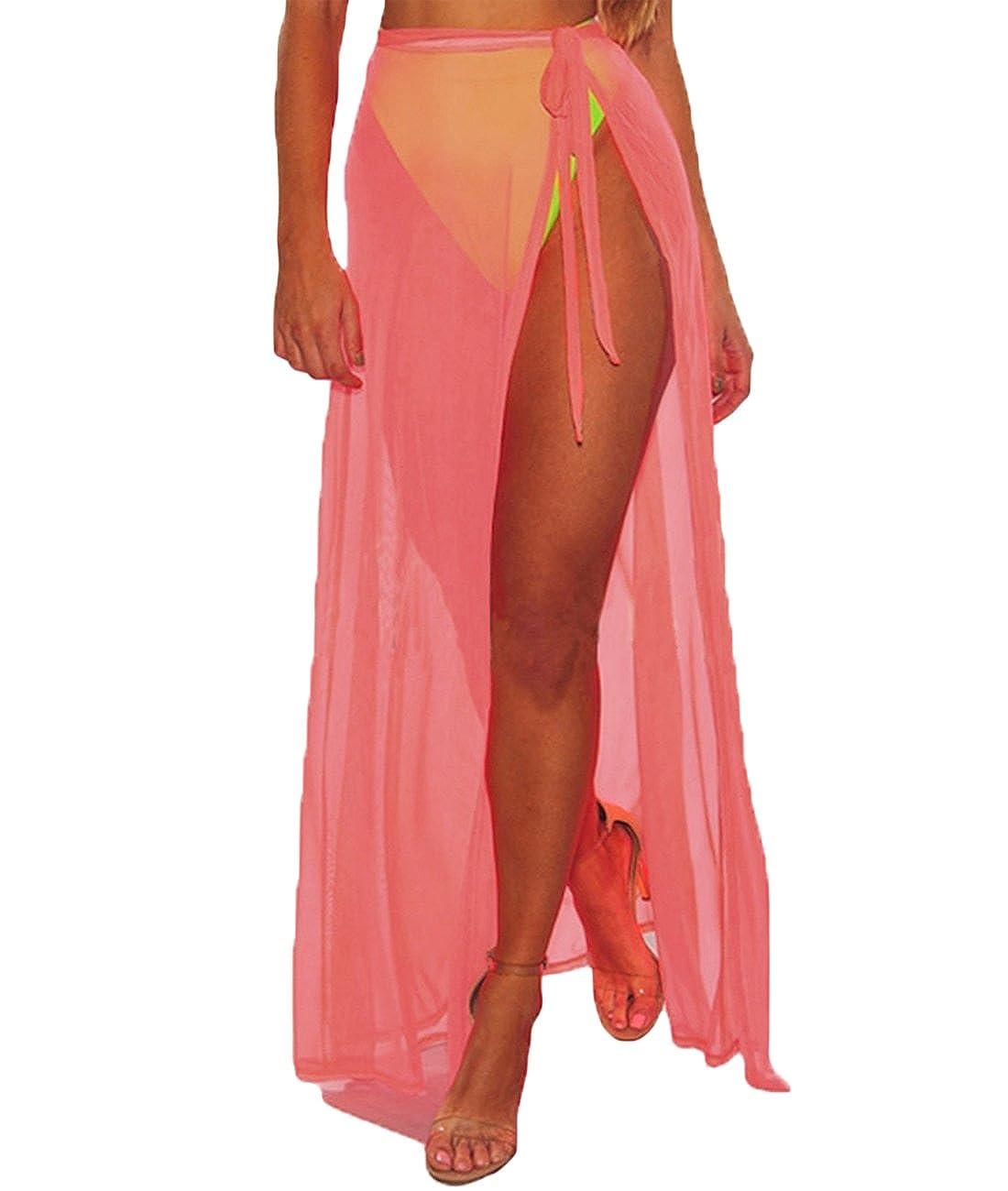 Lalagen Womens Wrap High Waist Summer Beach Cover up Maxi Skirt LLGEA42275