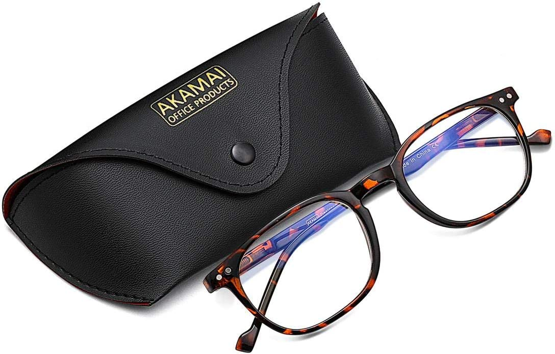 Akamai Blue Light Blocking Frames - Mens & Womens Computer Screen Bluelight Protection - Anti UV Glare - Buxton Model (+0.0, Tortoise)