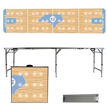 North Carolina Tar Heels UNC 8 Foot Portable Folding Tailgate Table  Basketball Court Version