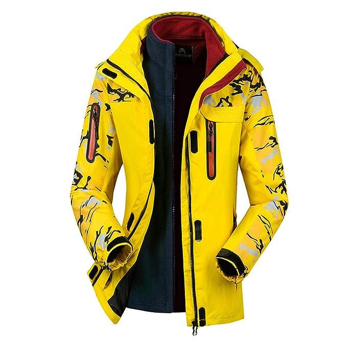 DOGZI Pareja Hombres Desmontable Lana al Aire Libre Abrigo Chaqueta de Snowboard Invierno 2 Piezas Camuflaje