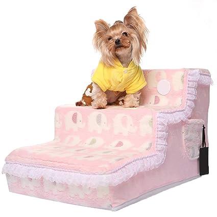 YZONG Gato Perro Escalera Alto Camas, Desmontable Limpieza Perro Pasos, Engrosado Franela, Cordón