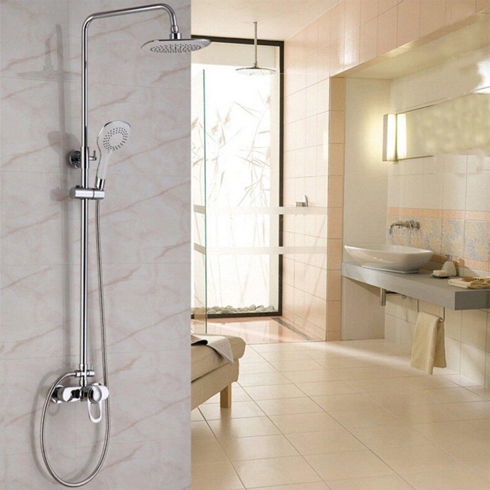 TOU Full Copper Shower Set Round Top Spray Drop Split Taps,Silver