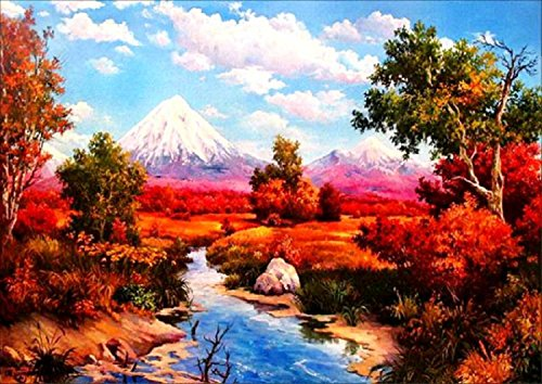 DIY 5D Diamond Painting by Number Kits, Full Drill Crystal Rhinestone Embroidery Pictures Arts Craft for Home Wall Decor Gift (Snow Mountain and Creek, 11.8x15.7inch)