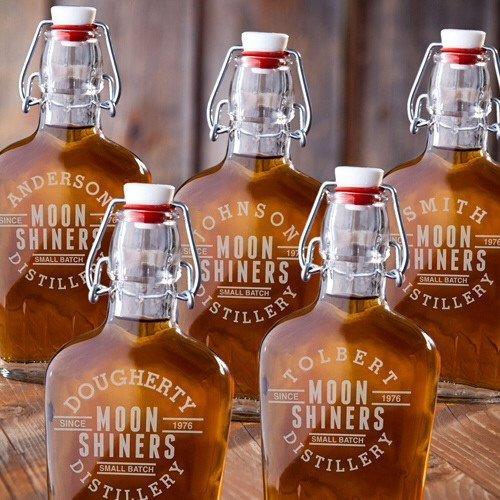 Set of 5 - Engraved Vintage Glass Flasks - Pocket Flasks - Moonshiners