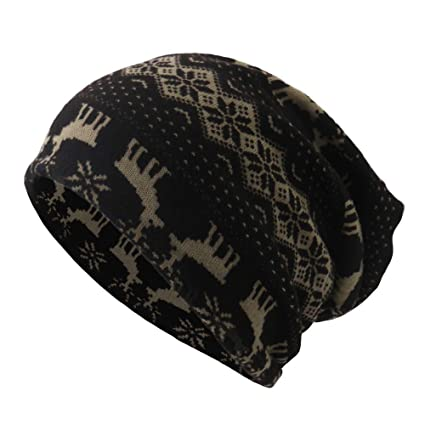 c4319d5df31 Amazon.com  Dressin Unisex Christmas Rudolph Scarf Beanie Cap Casaul  Outdoor Convertible Windproof Skull Hats  Clothing