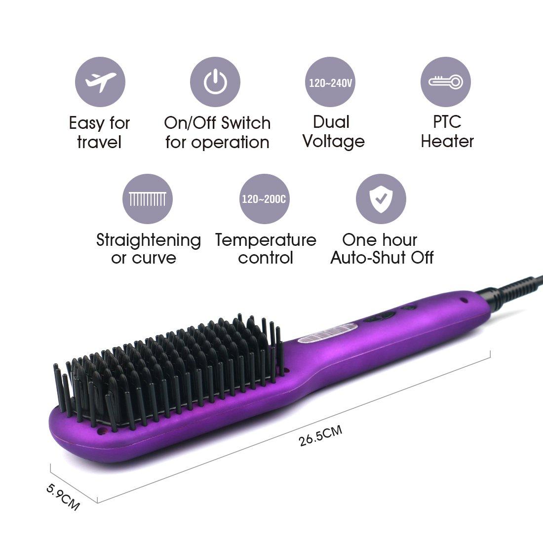 Alisadores de pelo cepillo profesional eléctrico alisador de cabello alisado Viajes cuidado del cabello peine doble voltaje ajustable temperatura rápido ...