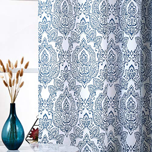 Blue and White Print Curtains 95