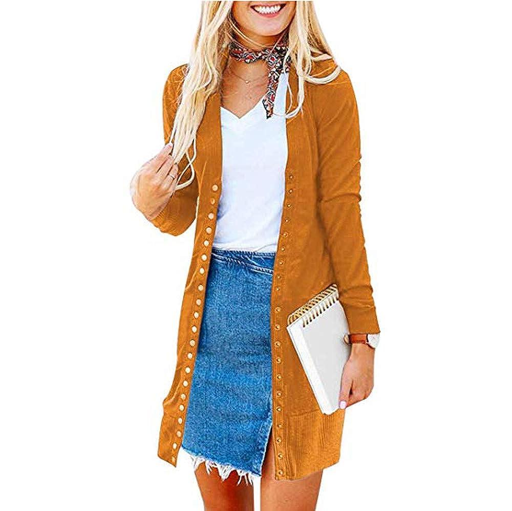 MYMYG Mujer Invierno Cardigan Jersey de Punto Suelto Color Sólido Chaqueta Botón Suéter para OtoñO Invierno Pullover Túnicas Blusa Camisetas