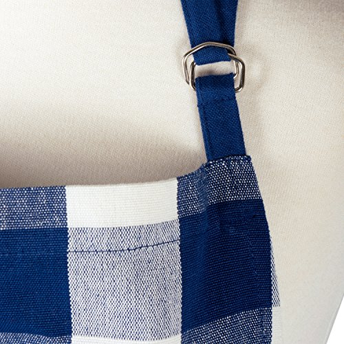 """DII Cotton Adjustable Buffalo Check Plaid Apron with Pocket & Extra-Long Ties, 32 x 28"""", Men and Women Kitchen Apron for Cooking, Baking, Crafting, Gardening, & BBQ - Navy & Cream 4"""