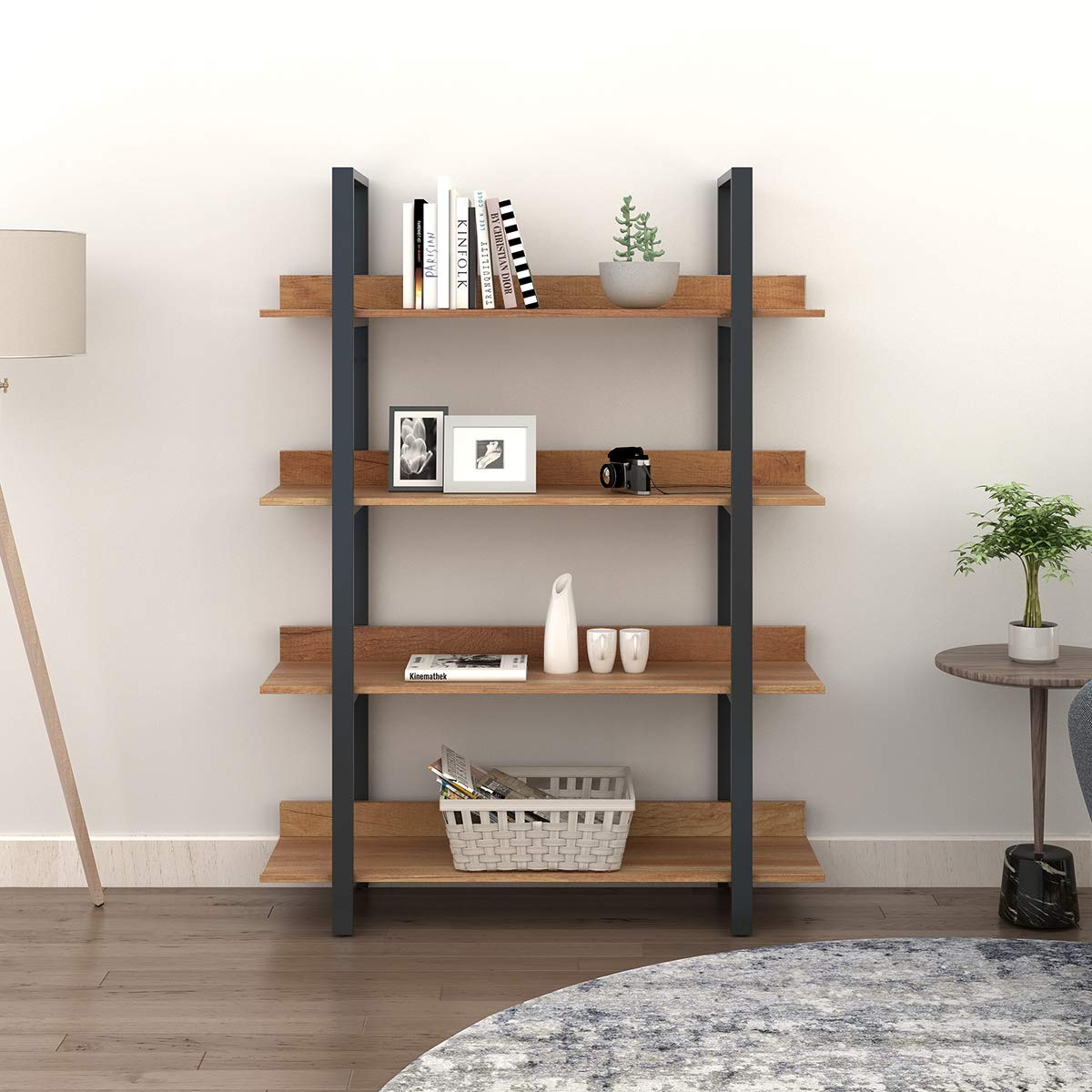 WLIVE 4-Tier Bookcase, Vintage Industrial Bookshelf, Wood and Metal Book Shelf Furniture, Organizer for Home and Office, Walnut