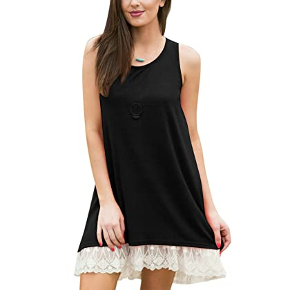 656d62f164 Women s Lace Tunic Top Sweatshirt Long Sleeve Blouse A-Line Flowy T-Shirt  Dress