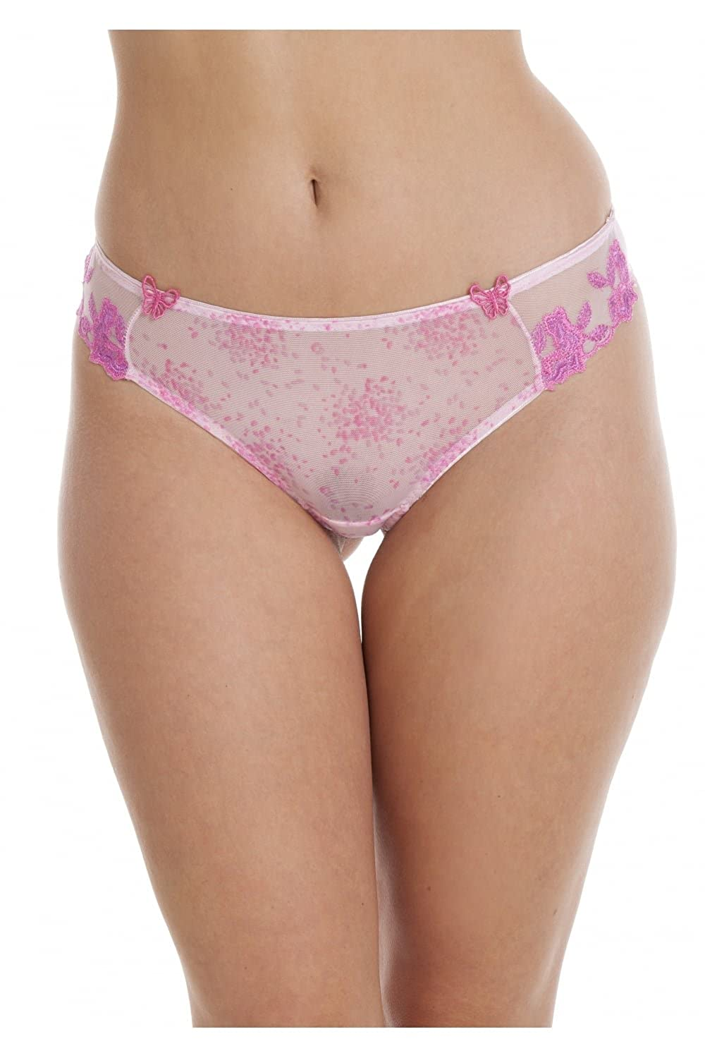 Camille Womens Ladies Sheer Mesh Laced Pink Underwear Thong Sizes 8-18