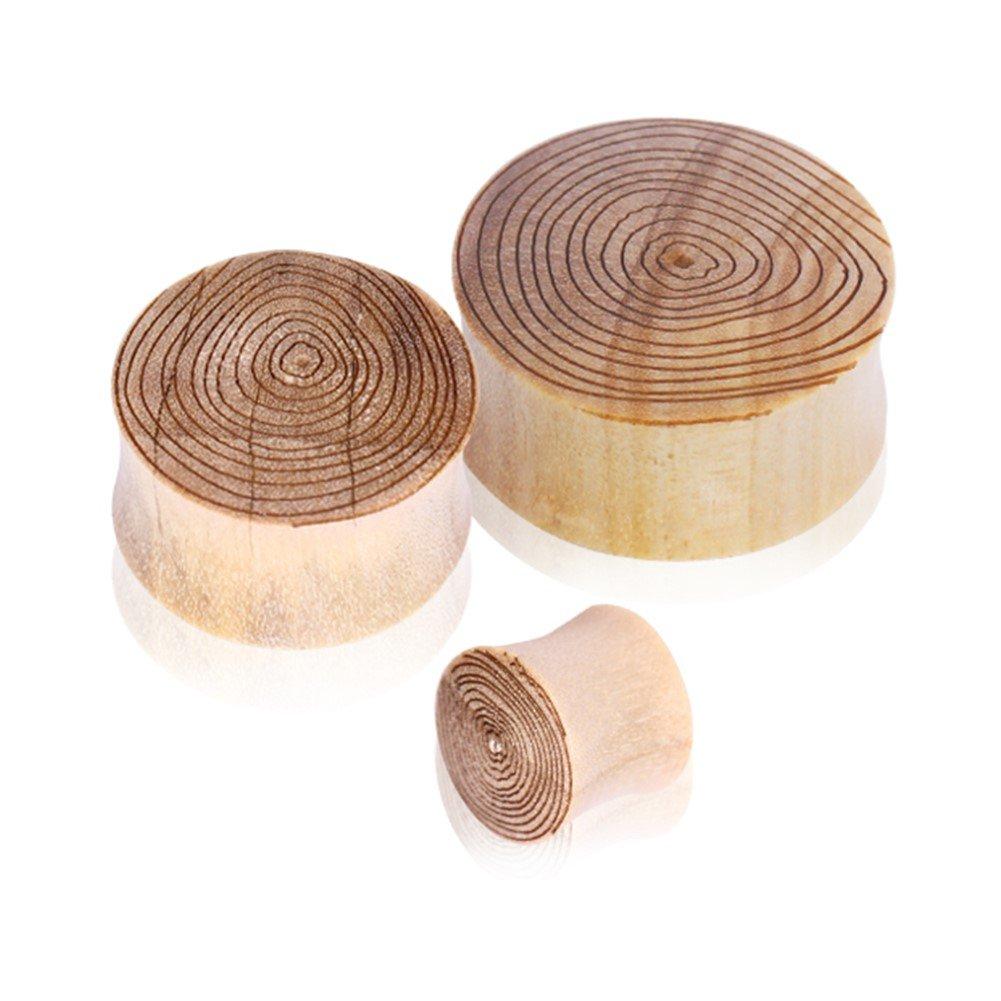 Pair Of Crocodile Wood Saddle Plugs With Engraved Wood Grain Motif