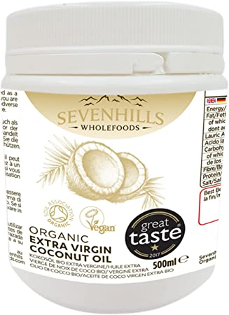 Sevenhills Wholefoods 500ml Organic Extra Virgin Raw Coconut Oil  (Cold-Pressed) Plastic Tub for Cooking, Baking, Skin moisturiser & Hair  Conditioner
