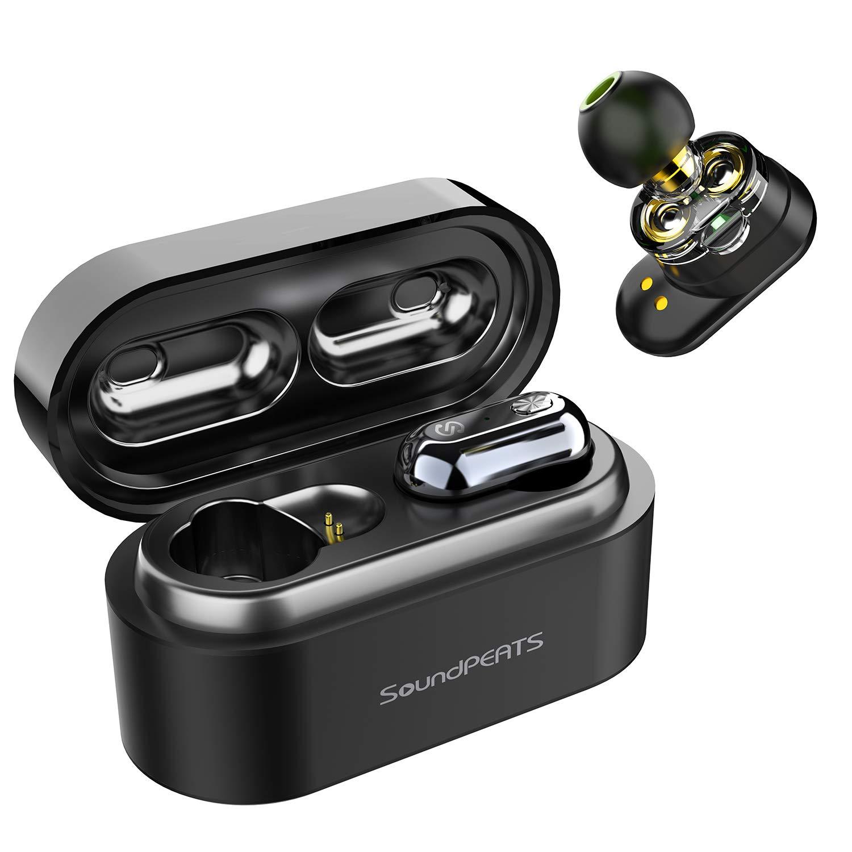 【改善版 高音質】ワイヤレスイヤホン デュアルドライバー SoundPEATS(サウンドピーツ) Truengine AAC対応 Bluetooth5.0 完全ワイヤレス イヤホン IPX6防水 自動ペアリング 左右分離型 両耳/片耳対応 マイク内蔵 両耳通話 音量調整可能 TWS ブルートゥース ヘッドホン フルワイヤレス ヘッドセット[メーカー1年保証] ブラック