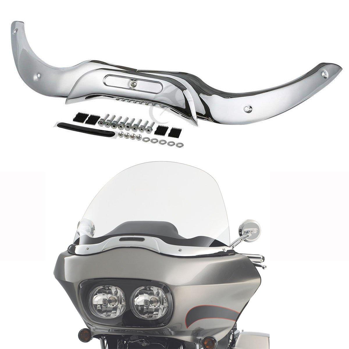 XFMT Windshield Windscreen Trim Set Chrome For Harley Touring Road Glide 2004-2013 05