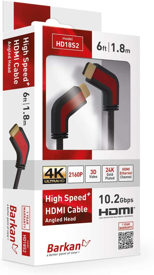Barkan 6Ft High Speed HDMI Cable 60Hz 4K Ultra HD 1 Year Warranty Black