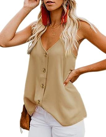Roseate Moda Mujer Casual Botón con Cuello en v Chaleco de algodón Raya Sin Mangas Camisetas sin Mangas: Amazon.es: Ropa y accesorios