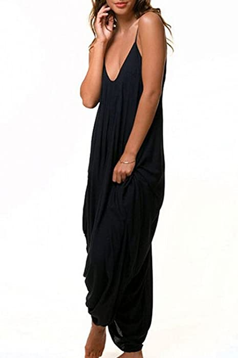 b5fe61fe255 Amazon.com  Yacun Women s Loose Rompers Baggy Harem Slip Overall ...