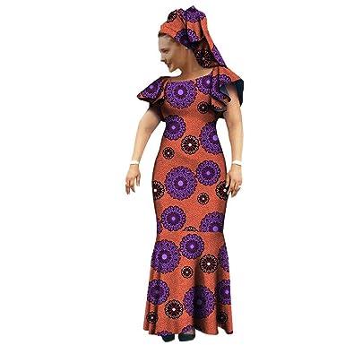 06d6b30fe2 African Ankara Print Women Dress with Headscarf Lantern Sleeves Ankle  Length Maxi Dress 100% Batik