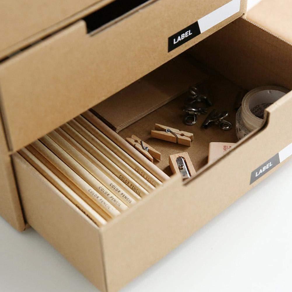 Presentimer Cassetto portaoggetti in Carta Kraft cassettiera a Tre Strati Finitura Desktop archivio Fisso archivio cassetti archivio con Etichetta