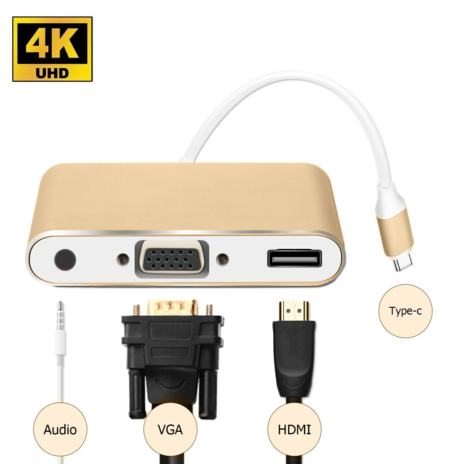 KAKAXI USB 3.1 Type-c Multiport Adapter, Type-c To HDMI /VGA/Audio, Converter Cable Charging Port Adapter Cable with Large Projection for MacBook/Chromebook Pixel/Dell XPS13/Yoga 900(Type-c)