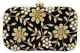 Tooba Handicraft Party Wear Hand Embroidered Box Clutch Bag Purse For Bridal, Casual, Party , Wedding ( black zari zirkon 6x4 )