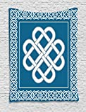 Ambesonne Irish Tapestry, Celtic Love Knot Good Fortune Symbol Framework Border Historical Amulet Design, Wall Hanging for Bedroom Living Room Dorm, 40 W X 60 L Inches, Dark Aqua White