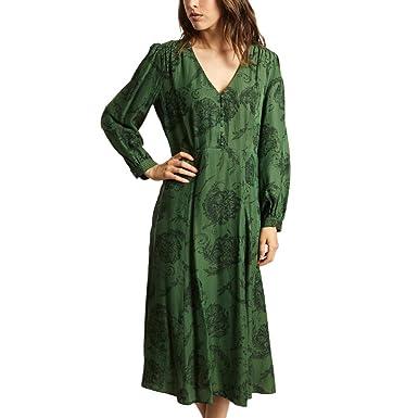 Tara Jarmon Printed Dress Winter Collection Women Dark Green at ... 24e36e458