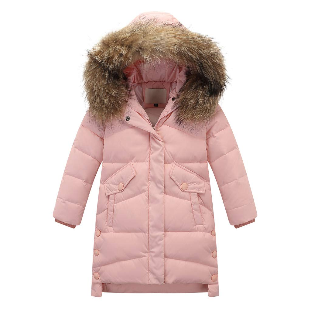 Gallity Winter Parka Down Coat Puffer Jacket Thick Padded Overcoat,Child Kids Girls Faux Fur Hooded Parka Down Coat Snowsuit Jacket for 4-12 Years Old (9-11 Years, Pink) by Gallity Baby Coat