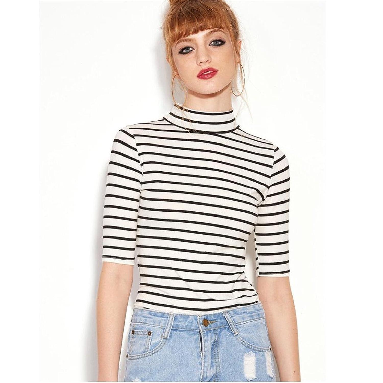 Bescit Fashion Women Black White Striped Splice T-shirt High Neck Slim  Blouse: Amazon.co.uk: Clothing