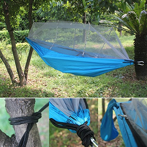 Camping Hammock with Mosquito Net, Double Parachute Hammocks Outdoor Hanging Tree Bed for Camping Backyard Beach (Fixing Wicker Chairs)