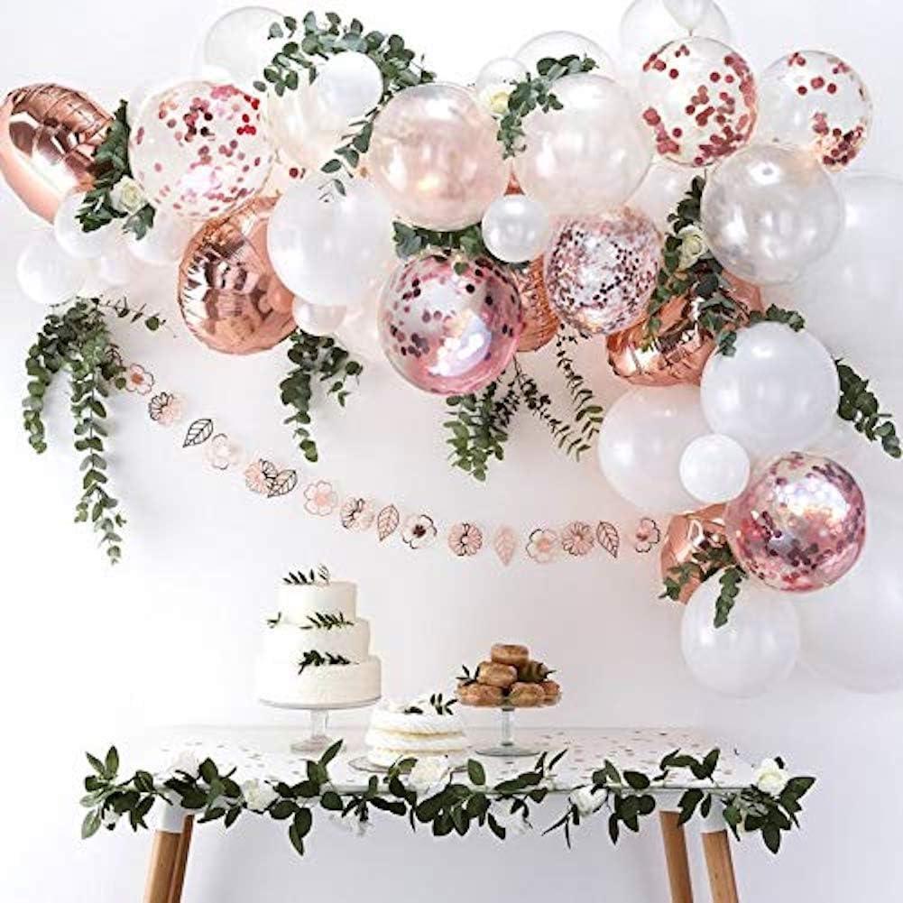 Rose Gold Confetti & White Balloon Garland Arch 70 Pieces Boho, Garden, Wedding, Shower, Party Decor.